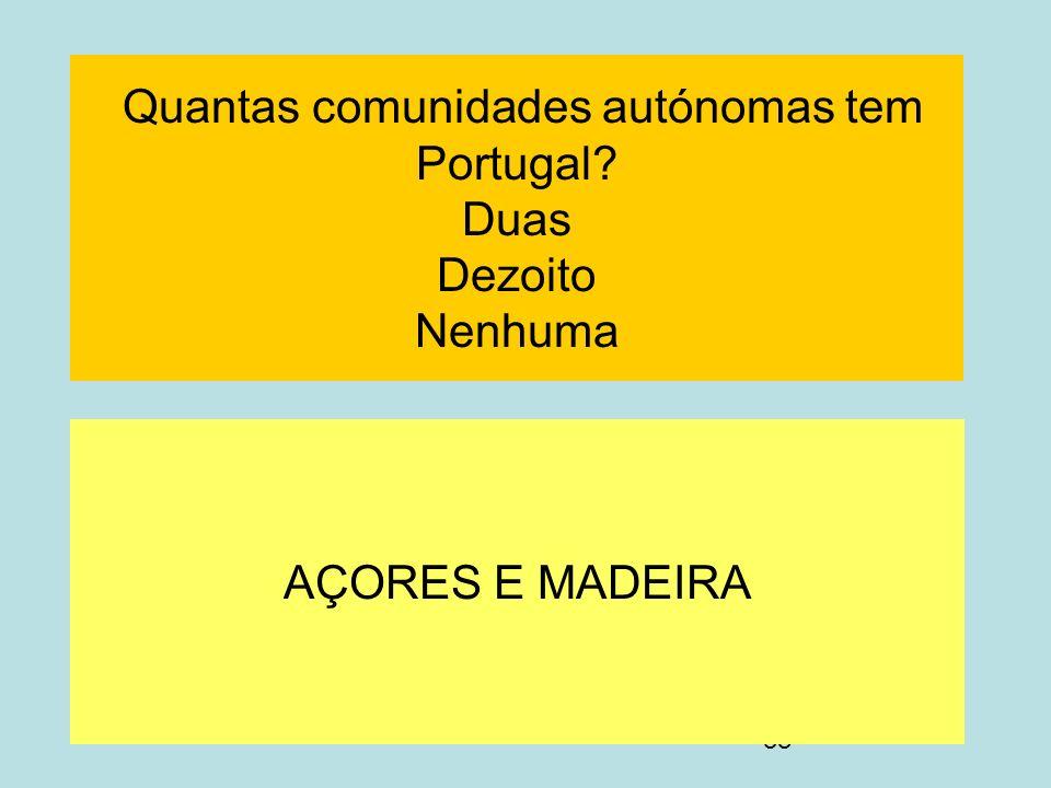 38 Quantas comunidades autónomas tem Portugal? Duas Dezoito Nenhuma AÇORES E MADEIRA