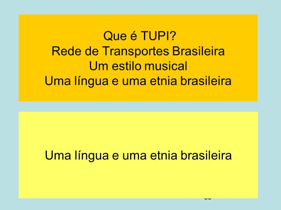 39 Que é TUPI? Rede de Transportes Brasileira Um estilo musical Uma língua e uma etnia brasileira Uma língua e uma etnia brasileira