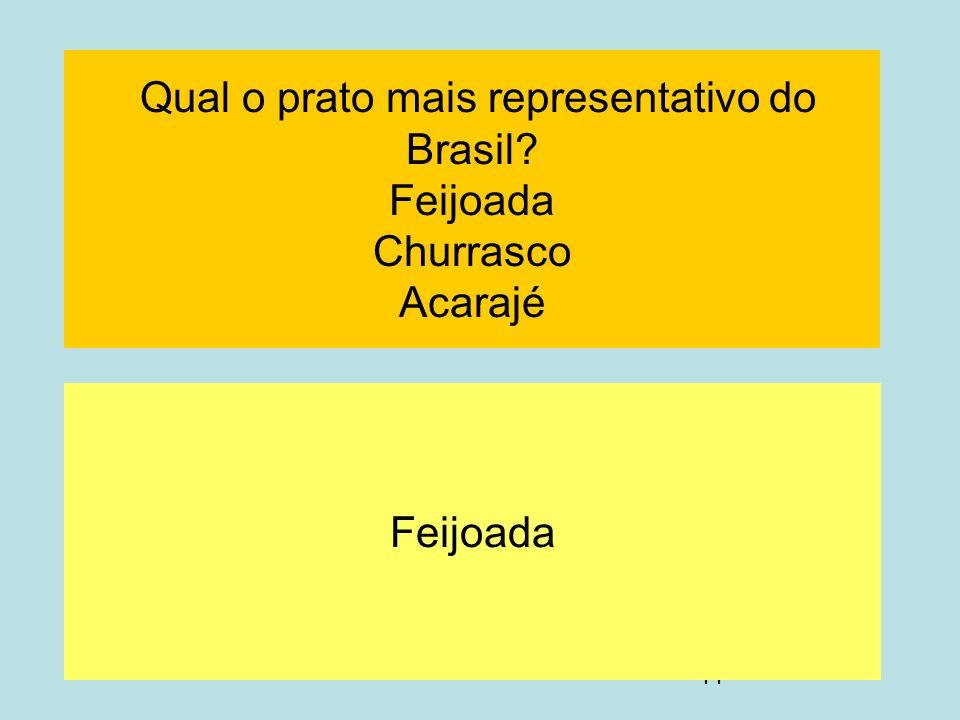 44 Qual o prato mais representativo do Brasil? Feijoada Churrasco Acarajé Feijoada