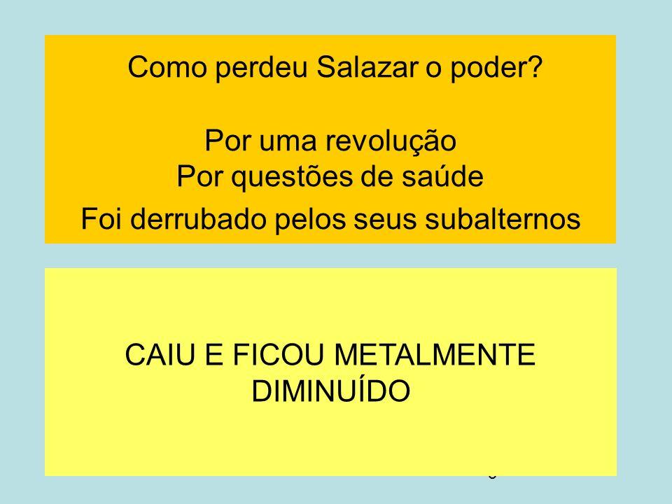 5 Como perdeu Salazar o poder? Por uma revolução Por questões de saúde Foi derrubado pelos seus subalternos CAIU E FICOU METALMENTE DIMINUÍDO