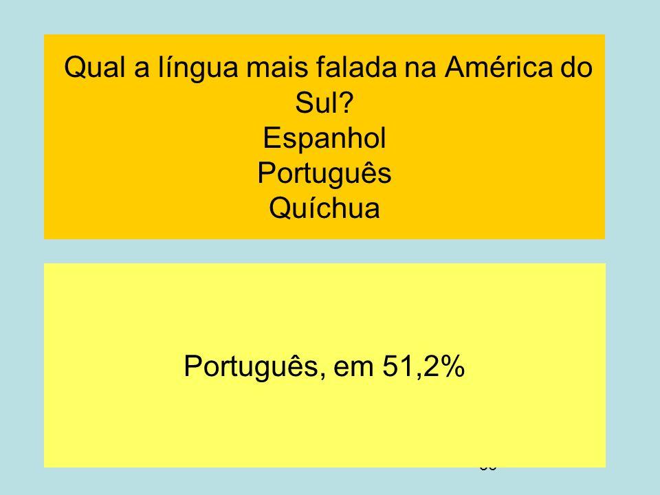 56 Qual a língua mais falada na América do Sul? Espanhol Português Quíchua Português, em 51,2%