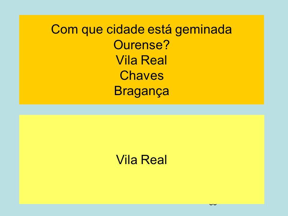 85 Com que cidade está geminada Ourense? Vila Real Chaves Bragança Vila Real
