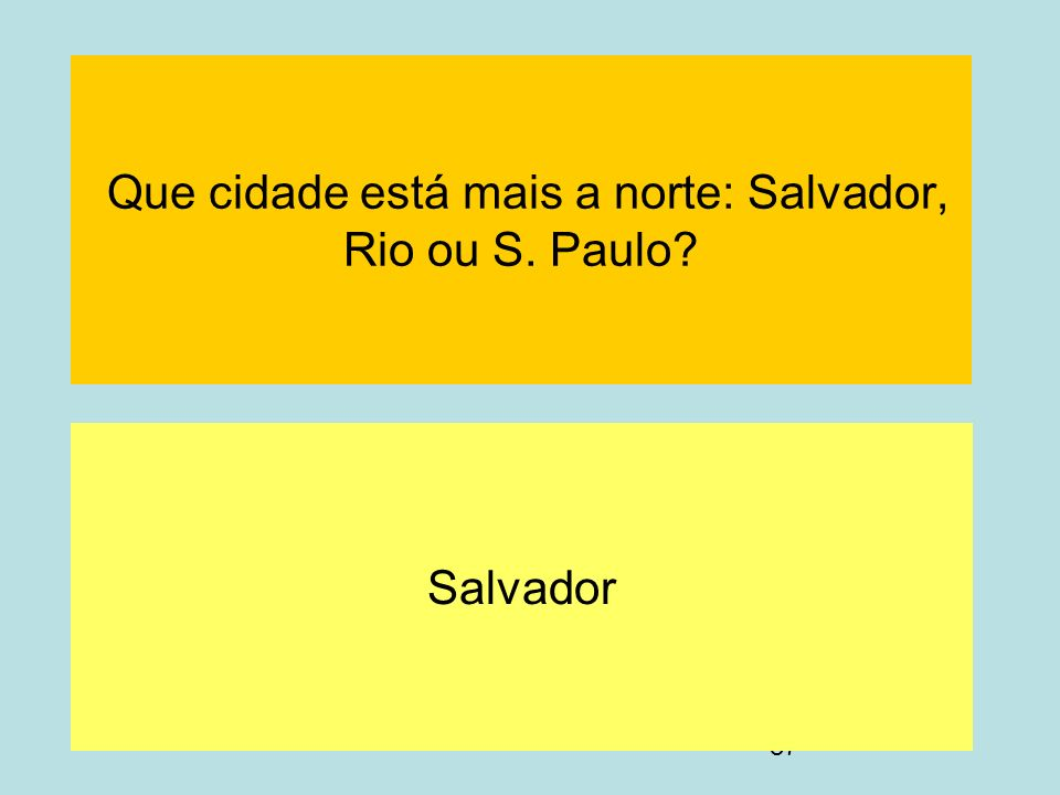 87 Que cidade está mais a norte: Salvador, Rio ou S. Paulo? Salvador