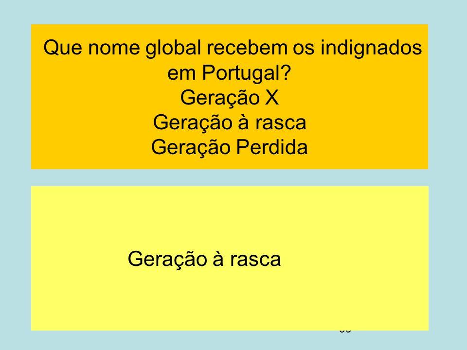 99 Que nome global recebem os indignados em Portugal? Geração X Geração à rasca Geração Perdida Geração à rasca
