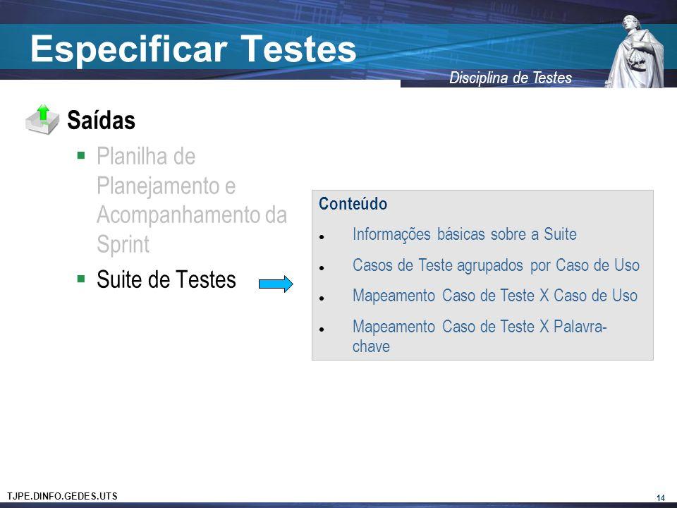 TJPE.DINFO.GEDES.UTS Disciplina de Testes Especificar Testes Saídas Planilha de Planejamento e Acompanhamento da Sprint Suite de Testes 14 Conteúdo Informações básicas sobre a Suite Casos de Teste agrupados por Caso de Uso Mapeamento Caso de Teste X Caso de Uso Mapeamento Caso de Teste X Palavra- chave
