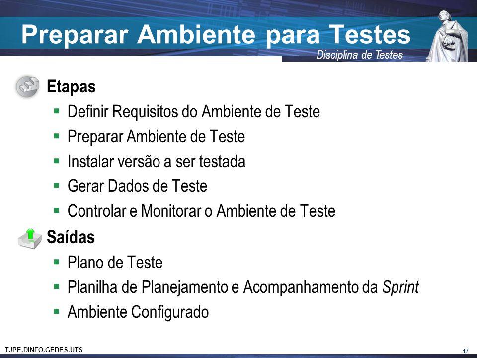 TJPE.DINFO.GEDES.UTS Disciplina de Testes Preparar Ambiente para Testes Etapas Definir Requisitos do Ambiente de Teste Preparar Ambiente de Teste Instalar versão a ser testada Gerar Dados de Teste Controlar e Monitorar o Ambiente de Teste Saídas Plano de Teste Planilha de Planejamento e Acompanhamento da Sprint Ambiente Configurado 17