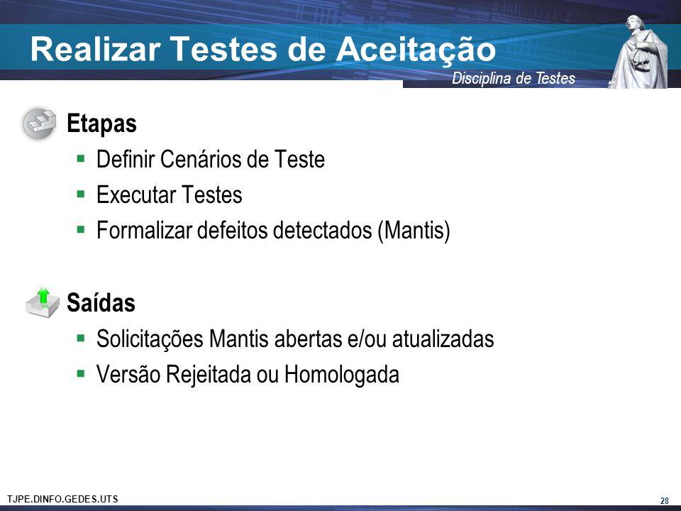 TJPE.DINFO.GEDES.UTS Disciplina de Testes Realizar Testes de Aceitação Etapas Definir Cenários de Teste Executar Testes Formalizar defeitos detectados (Mantis) Saídas Solicitações Mantis abertas e/ou atualizadas Versão Rejeitada ou Homologada 28