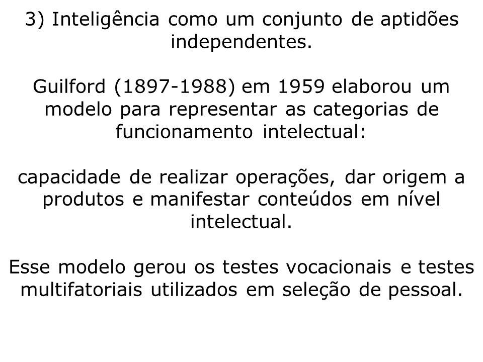 3) Inteligência como um conjunto de aptidões independentes. Guilford (1897-1988) em 1959 elaborou um modelo para representar as categorias de funciona