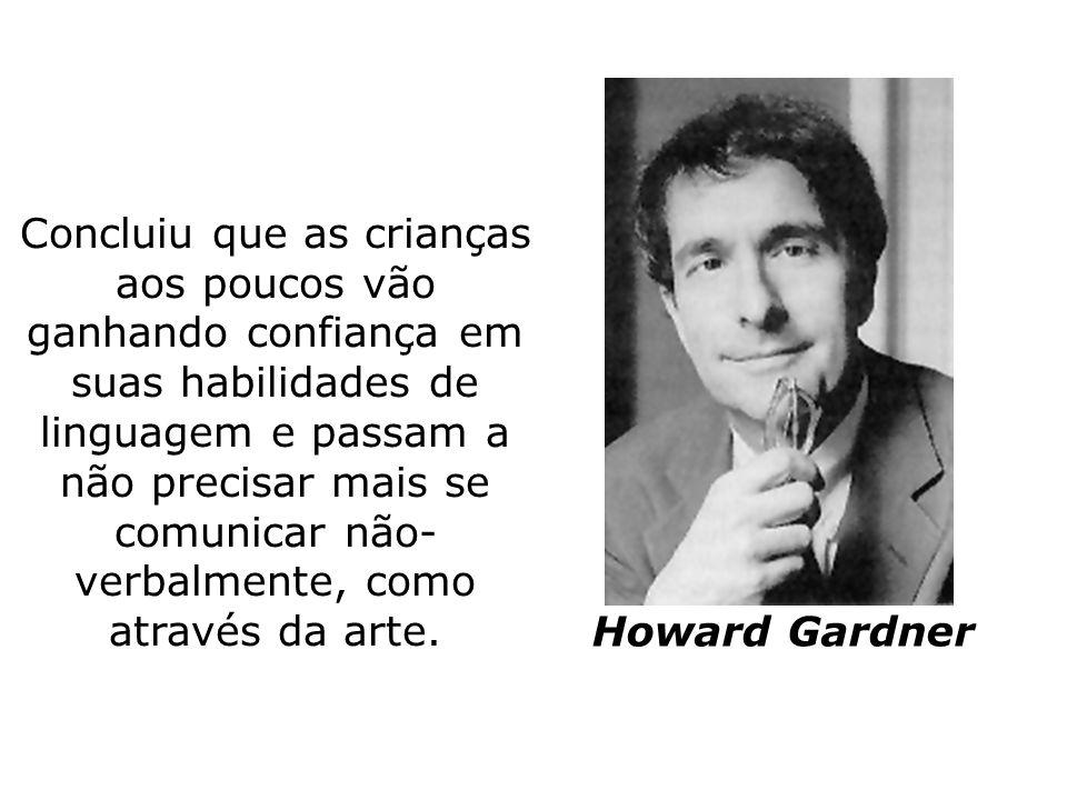 Howard Gardner Concluiu que as crianças aos poucos vão ganhando confiança em suas habilidades de linguagem e passam a não precisar mais se comunicar n