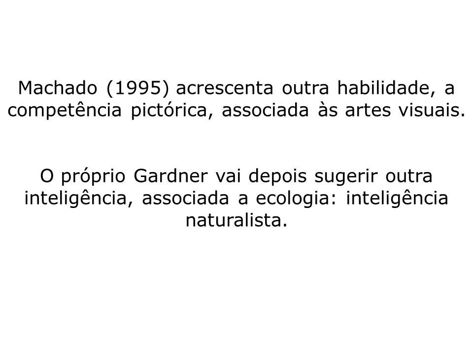 Machado (1995) acrescenta outra habilidade, a competência pictórica, associada às artes visuais. O próprio Gardner vai depois sugerir outra inteligênc