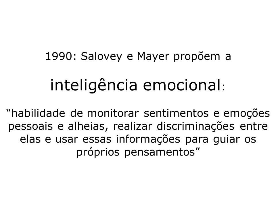 1990: Salovey e Mayer propõem a inteligência emocional : habilidade de monitorar sentimentos e emoções pessoais e alheias, realizar discriminações ent