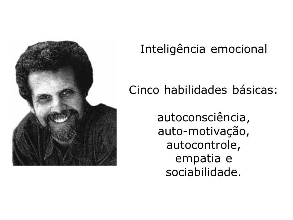 Inteligência emocional Cinco habilidades básicas: autoconsciência, auto-motivação, autocontrole, empatia e sociabilidade.