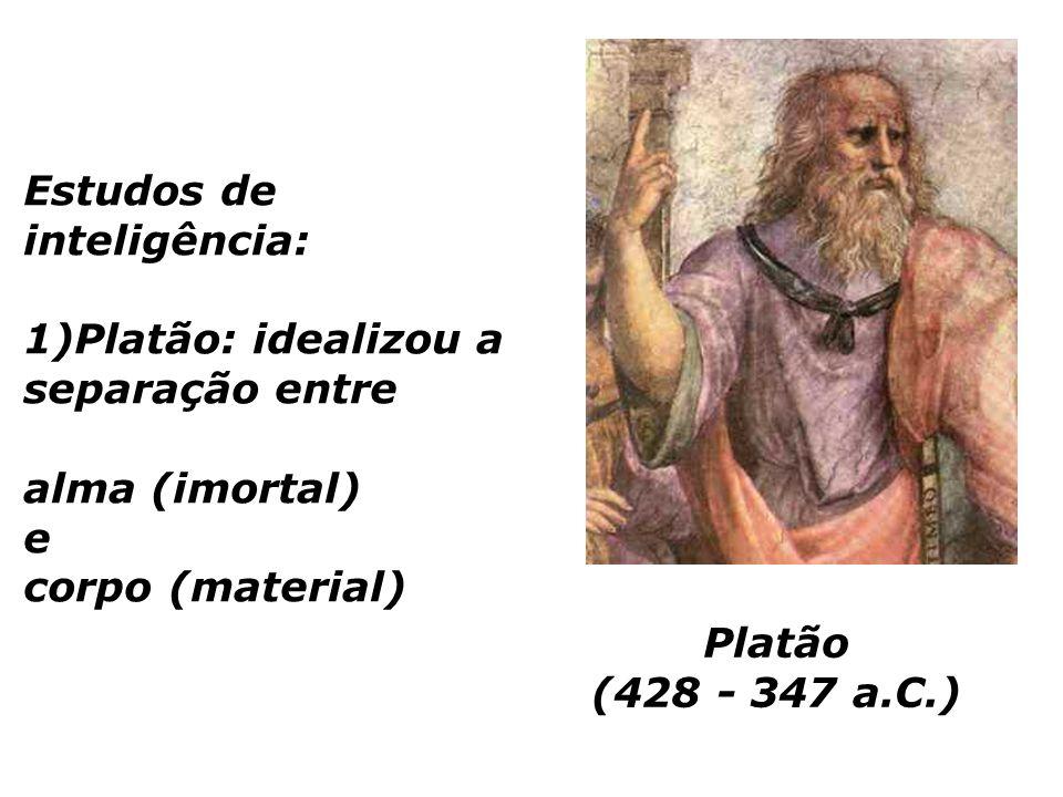Platão (428 - 347 a.C.) Estudos de inteligência: 1)Platão: idealizou a separação entre alma (imortal) e corpo (material)