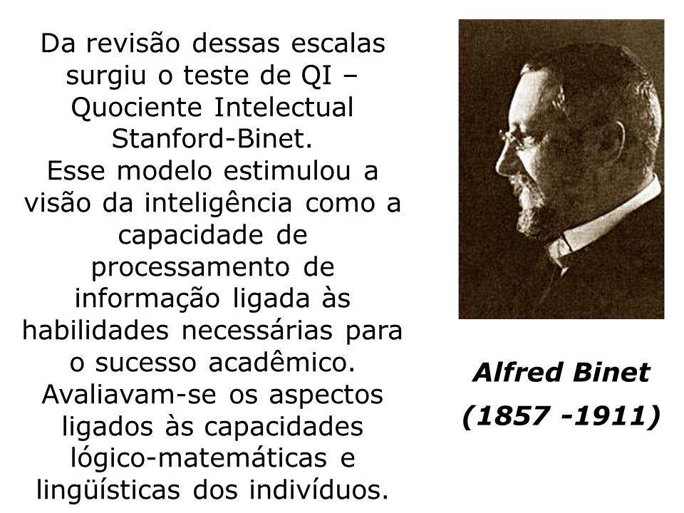 Alfred Binet (1857 -1911) Da revisão dessas escalas surgiu o teste de QI – Quociente Intelectual Stanford-Binet. Esse modelo estimulou a visão da inte