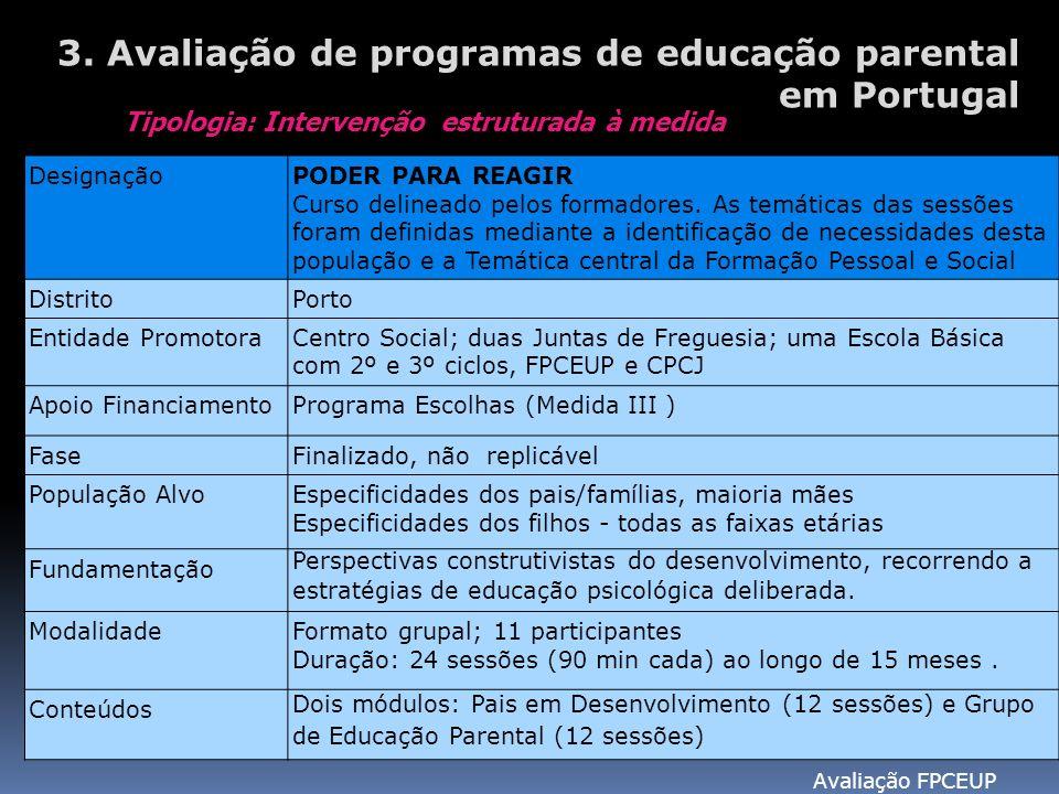 Avaliação FPCEUP 3. Avaliação de programas de educação parental em Portugal Tipologia: Intervenção estruturada à medida DesignaçãoPODER PARA REAGIR Cu