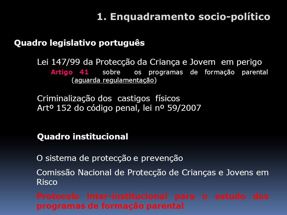 Quadro legislativo português Lei 147/99 da Protecção da Criança e Jovem em perigo Artigo 41 sobre os programas de formação parental (aguarda regulamen