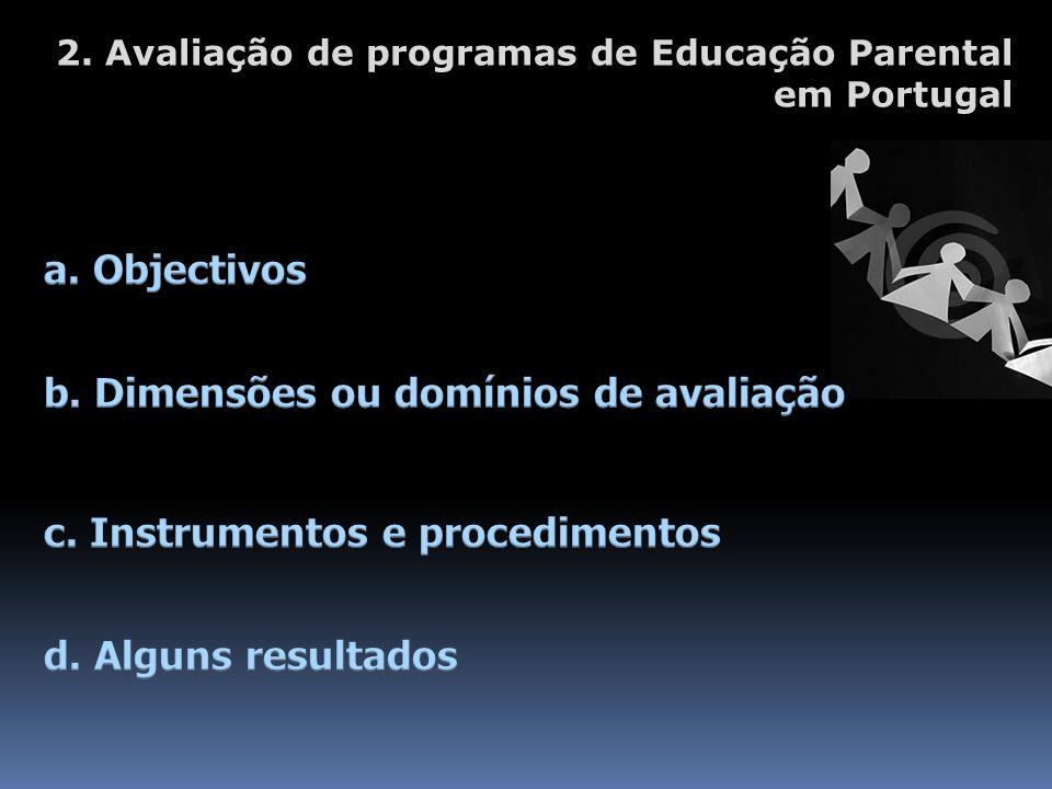 2. Avaliação de programas de Educação Parental em Portugal