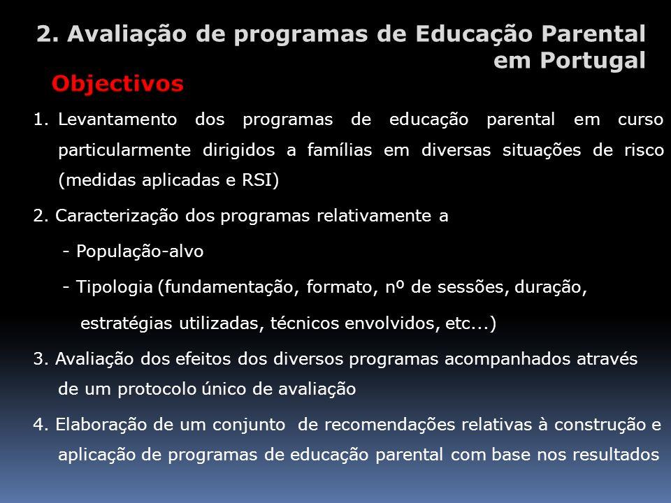 1.Levantamento dos programas de educação parental em curso particularmente dirigidos a famílias em diversas situações de risco (medidas aplicadas e RS