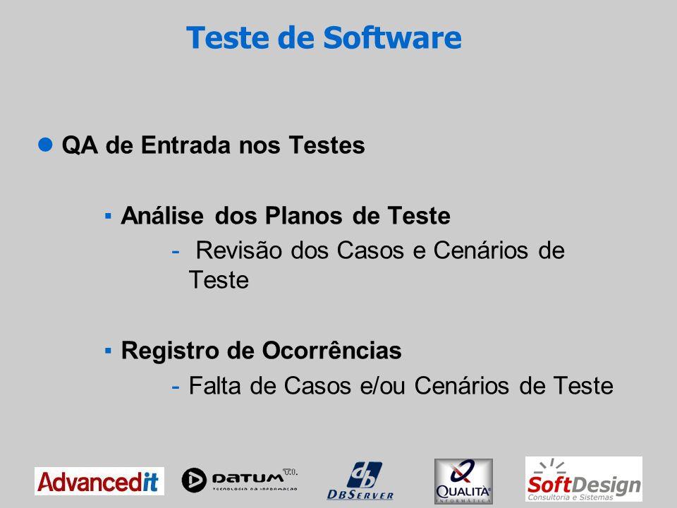 Teste de Software O Teste no Projeto é executado em duas fases: Teste de Integração -Alguns módulos integrados Teste de Sistema -Software totalmente integrado