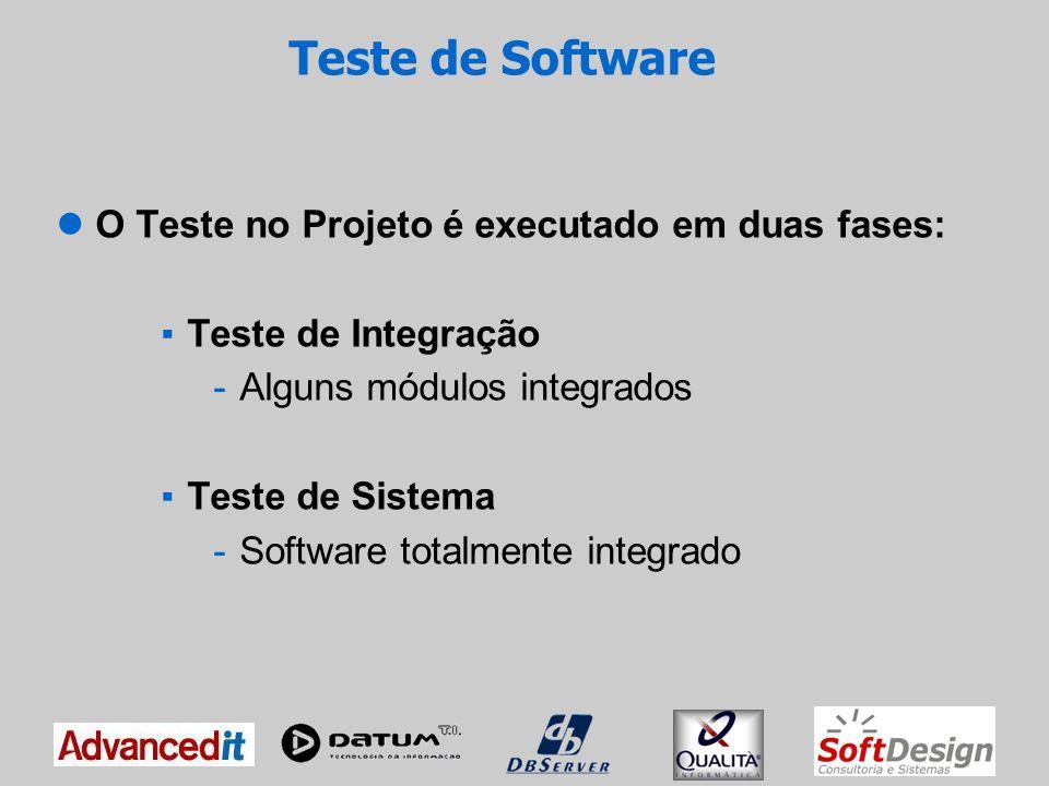 Teste de Software O teste é executado pelo Testador e os defeitos encontrados são cadastrados para acompanhamento da correção; A execução do teste é realizada com base nos Planos de Testes, garantindo a execução de todos os cenários; O andamento dos testes é acompanhado pelo Gestor de Testes através de planilhas e gráficos com os resultados de cada teste;