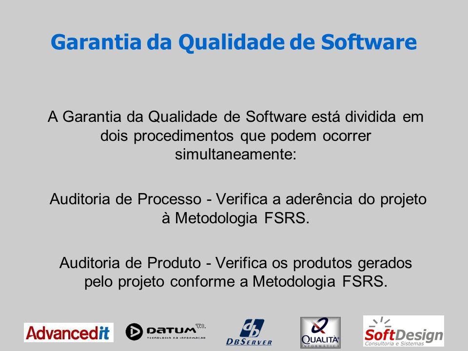 Garantia da Qualidade de Software Auditoria de Processos A Auditoria é executada pelo Auditor de Processos, conhecedor da Metodologia FSRS.