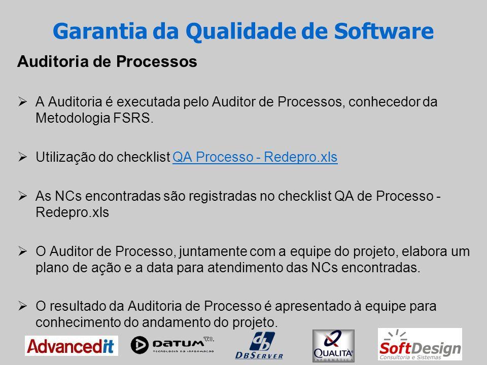 Garantia da Qualidade de Software Auditoria de Produto A Auditoria é executada pelo Auditor de Produto, conhecedor da Metodologia FSRS e da tecnologia utilizada no projeto.