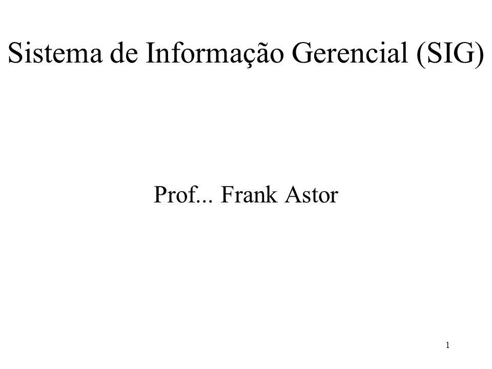 1 Sistema de Informação Gerencial (SIG) Prof... Frank Astor