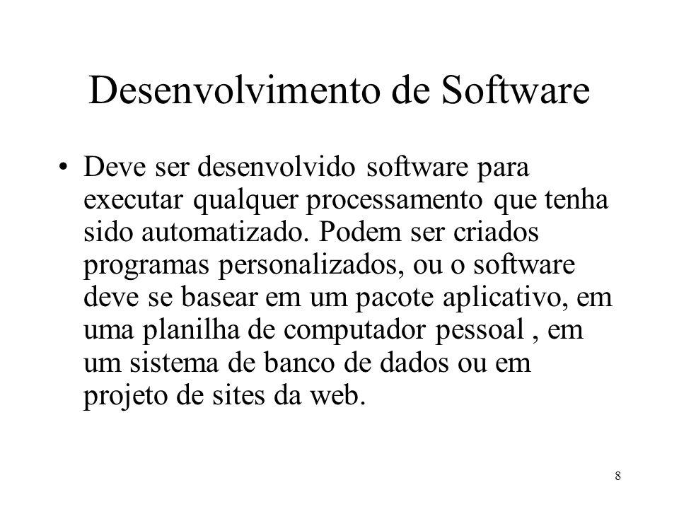 8 Desenvolvimento de Software Deve ser desenvolvido software para executar qualquer processamento que tenha sido automatizado. Podem ser criados progr
