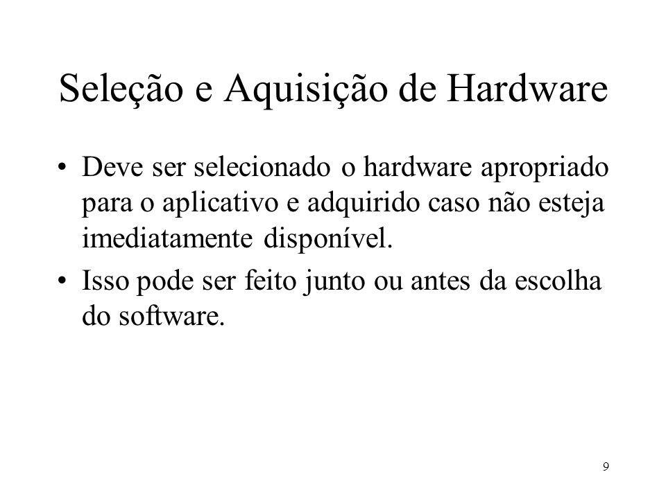 9 Seleção e Aquisição de Hardware Deve ser selecionado o hardware apropriado para o aplicativo e adquirido caso não esteja imediatamente disponível. I