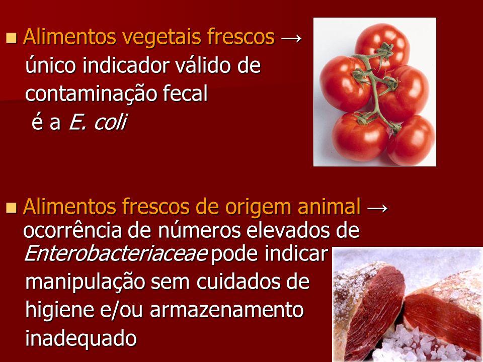 Alimentos vegetais frescos Alimentos vegetais frescos único indicador válido de único indicador válido de contaminação fecal contaminação fecal é a E.
