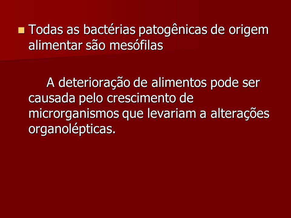 Todas as bactérias patogênicas de origem alimentar são mesófilas Todas as bactérias patogênicas de origem alimentar são mesófilas A deterioração de alimentos pode ser causada pelo crescimento de microrganismos que levariam a alterações organolépticas.