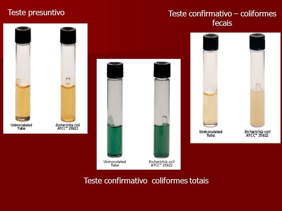Teste presuntivo Teste confirmativo coliformes totais Teste confirmativo – coliformes fecais