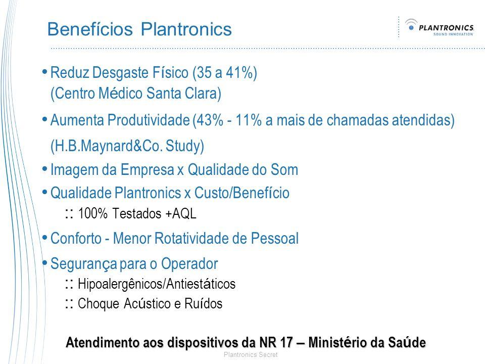 Plantronics Secret Benefícios Plantronics Reduz Desgaste F í sico (35 a 41%) (Centro M é dico Santa Clara) Aumenta Produtividade (43% - 11% a mais de