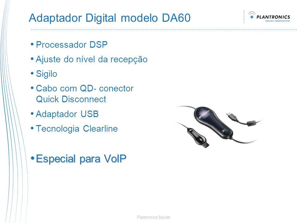Plantronics Secret Adaptador Digital modelo DA60 Processador DSP Ajuste do nível da recepção Sigilo Cabo com QD- conector Quick Disconnect Adaptador U
