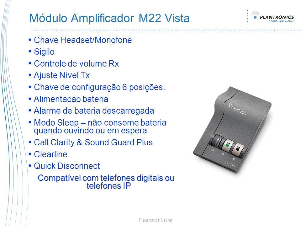 Plantronics Secret Módulo Amplificador M22 Vista Chave Headset/Monofone Sigilo Controle de volume Rx Ajuste Nível Tx Chave de configuração 6 posições.