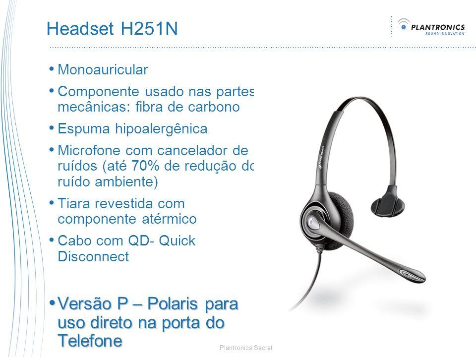 Plantronics Secret Headset H251N Monoauricular Componente usado nas partes mecânicas: fibra de carbono Espuma hipoalergênica Microfone com cancelador