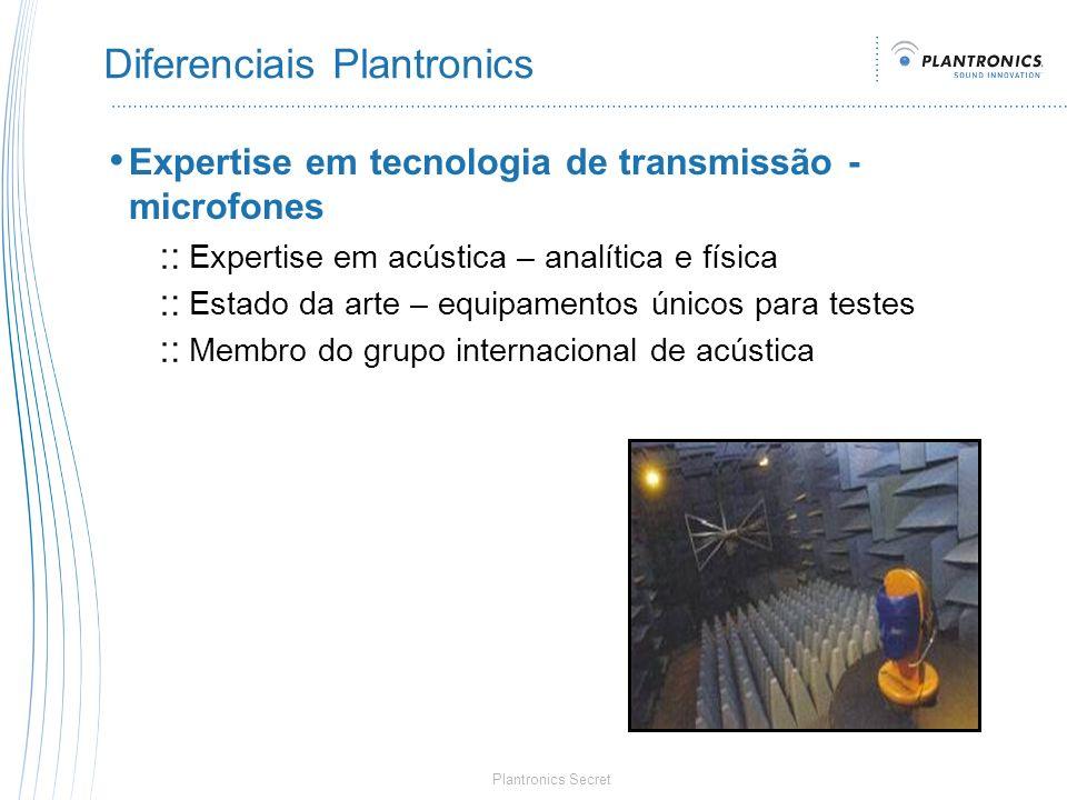 Plantronics Secret Diferenciais Plantronics Expertise em tecnologia de transmissão - microfones Expertise em acústica – analítica e física Estado da a