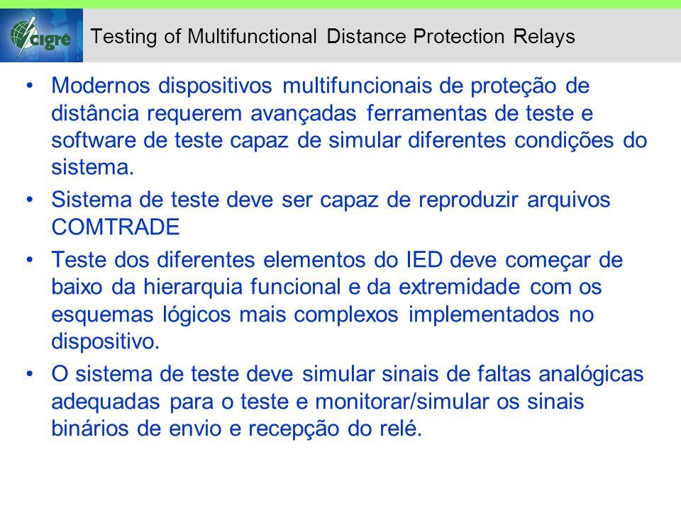 Testing of Multifunctional Distance Protection Relays Modernos dispositivos multifuncionais de proteção de distância requerem avançadas ferramentas de