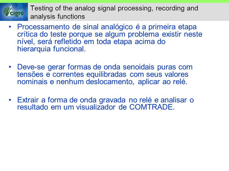Testing of the measurement functions Usar o mesmo procedimento descrito na seção anterior, pelo menos como a condição de teste inicial das medidas.