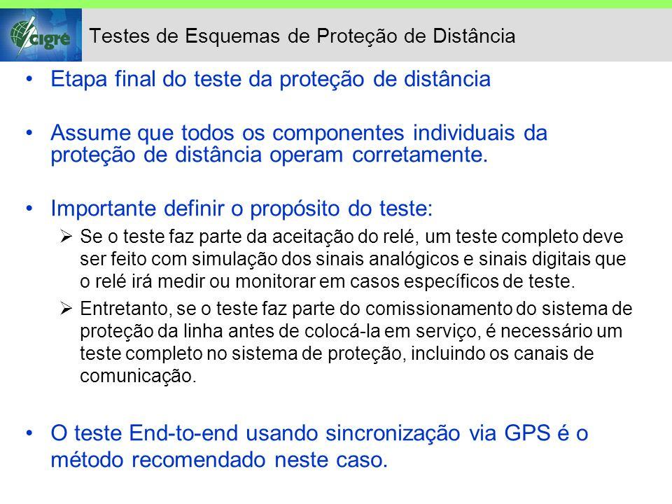 Testes de Esquemas de Proteção de Distância Etapa final do teste da proteção de distância Assume que todos os componentes individuais da proteção de d