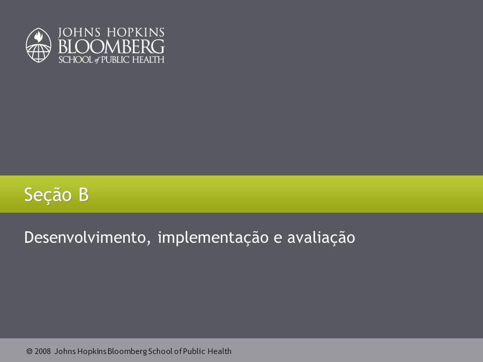 2008 Johns Hopkins Bloomberg School of Public Health Seção B Desenvolvimento, implementação e avaliação