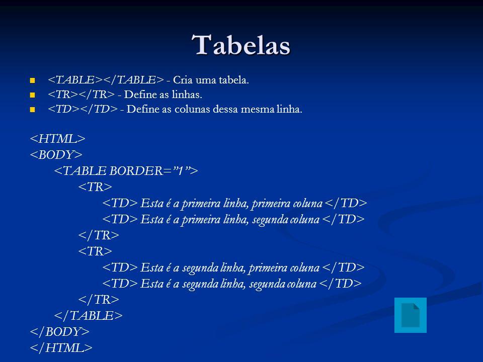 Tabelas - Cria uma tabela.- Define as linhas. - Define as colunas dessa mesma linha.