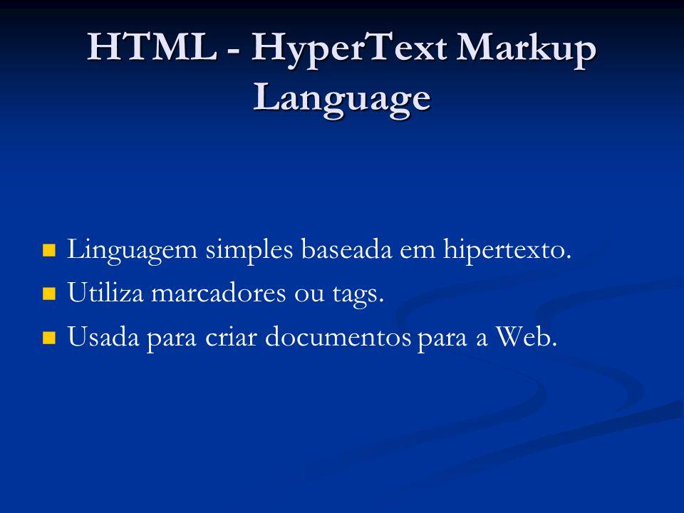 HTML - HyperText Markup Language Linguagem simples baseada em hipertexto.