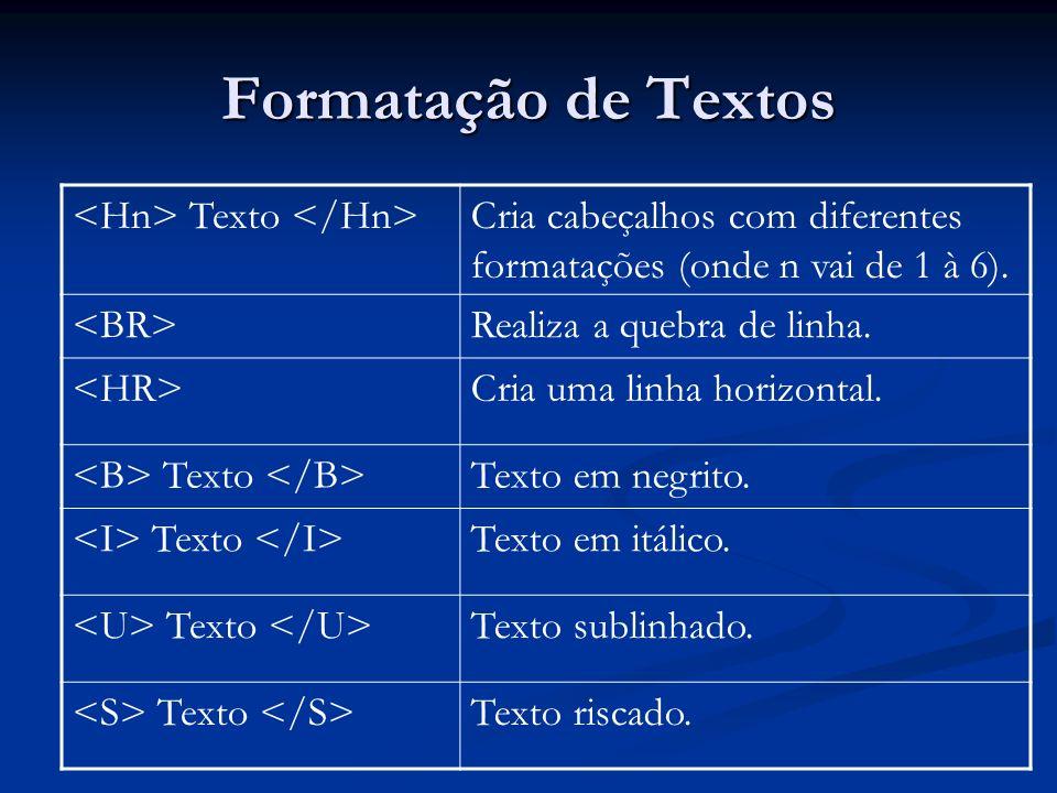 Formatação de Textos Texto Cria cabeçalhos com diferentes formatações (onde n vai de 1 à 6).