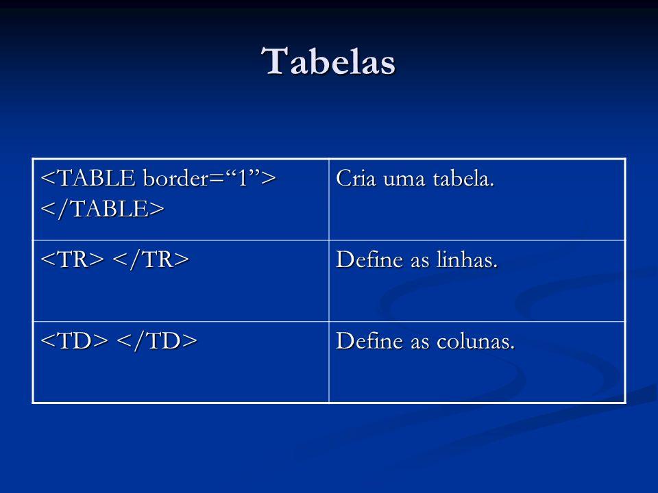 Tabelas Cria uma tabela. Define as linhas. Define as colunas.