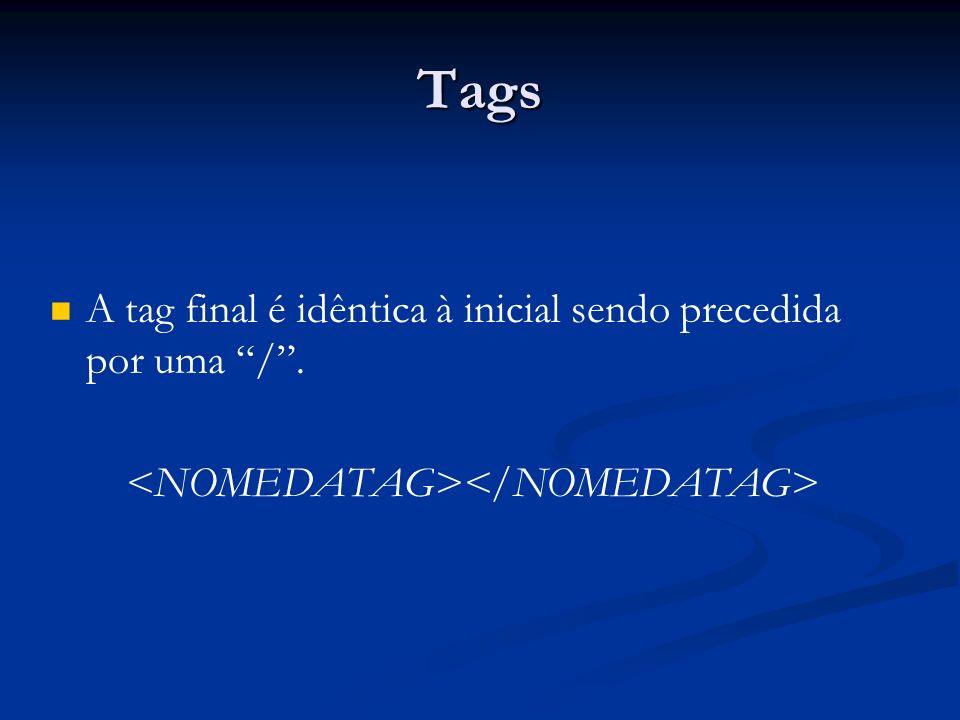 Tags A tag final é idêntica à inicial sendo precedida por uma /.