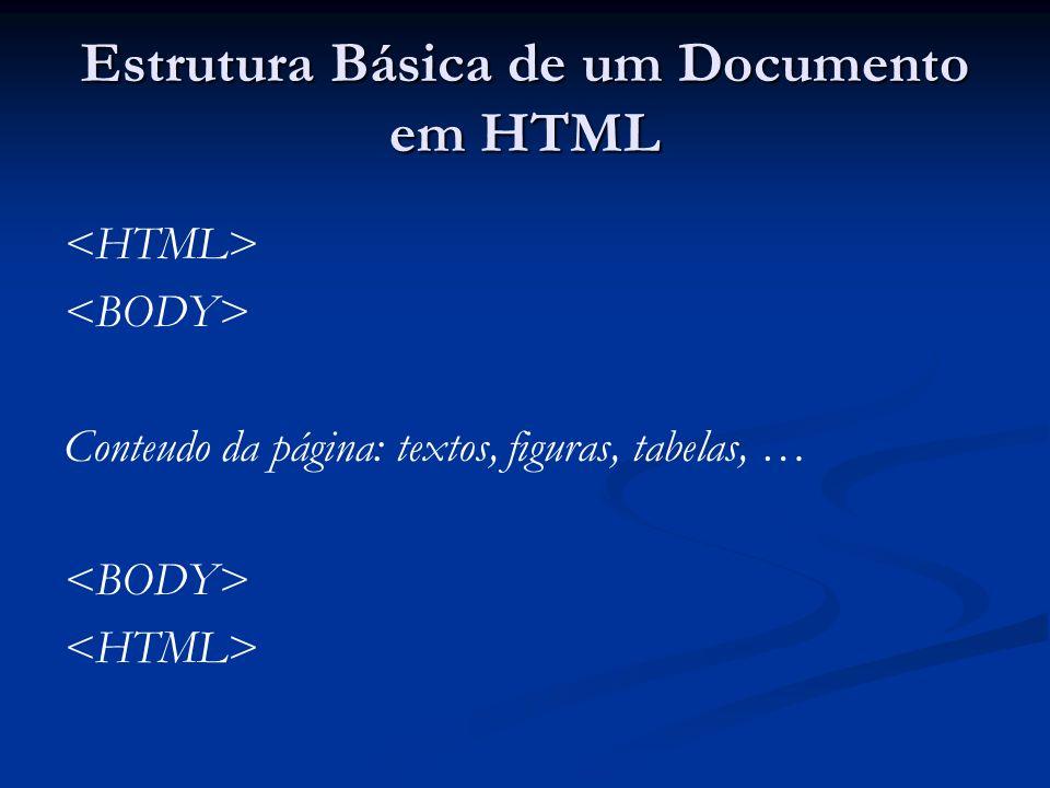 Estrutura Básica de um Documento em HTML Conteudo da página: textos, figuras, tabelas, …