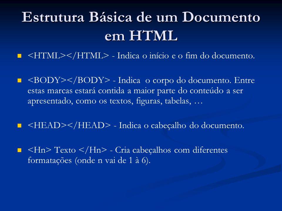 Estrutura Básica de um Documento em HTML - Indica o início e o fim do documento.