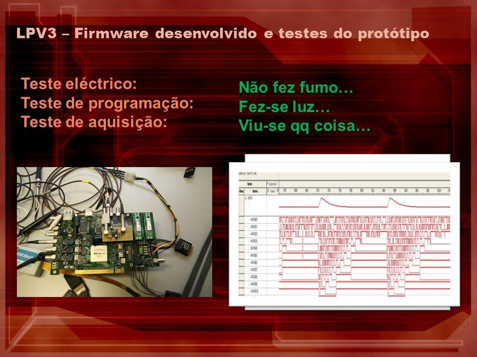 LPV3 – Firmware desenvolvido e testes do protótipo Teste eléctrico: Teste de programação: Teste de aquisição: Não fez fumo… Fez-se luz… Viu-se qq cois
