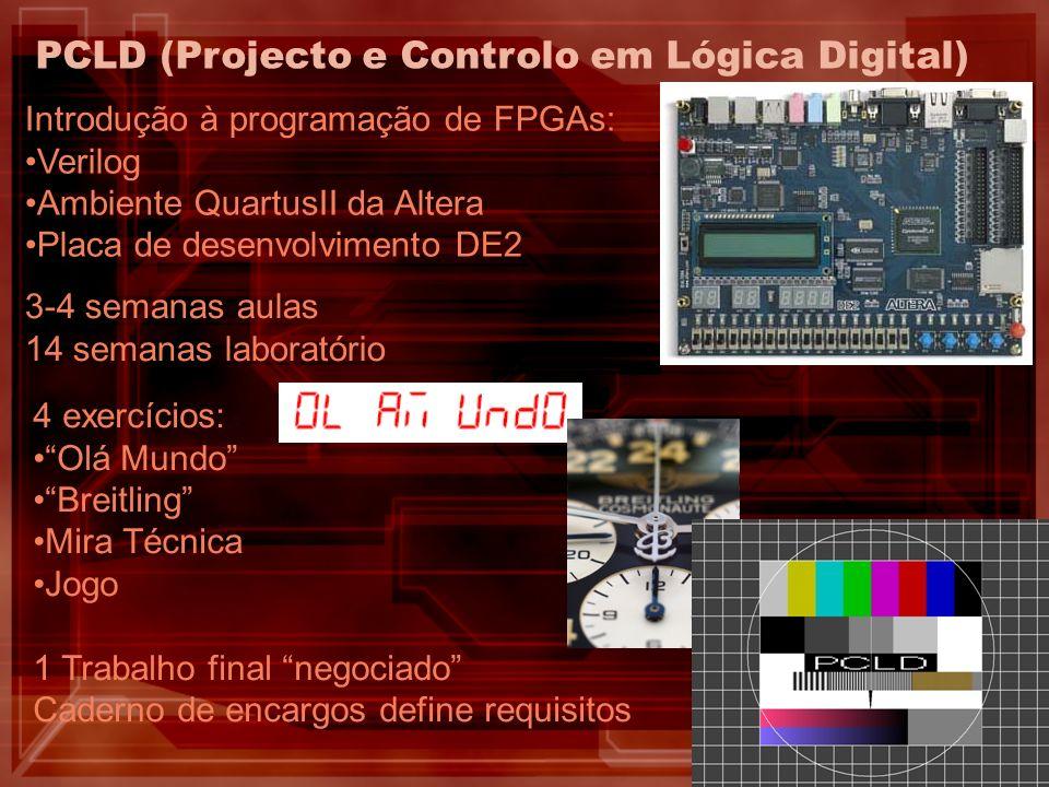 4 exercícios: Olá Mundo Breitling Mira Técnica Jogo 1 Trabalho final negociado Caderno de encargos define requisitos PCLD (Projecto e Controlo em Lógi